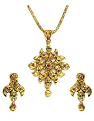 Shining Diva Golden Floral Pendant Set For Women