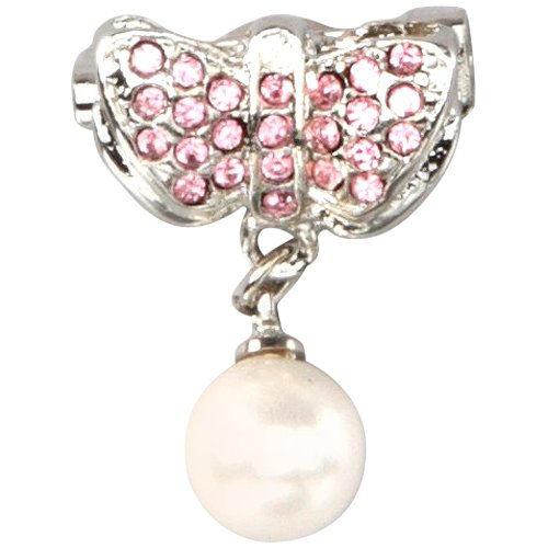 Pink CZs Pearl Silver Rhodium Overlay Butterfly Pin Brooch Pendant
