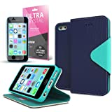 [ iPhone 5C Case] Cellto iPhone 5C Case Wallet Flip Type with HD Screen Protector [Slim Fit] [Navy Mint] Diary Cover /w ID Slot Top Quality with Premium PU Leather and TPU Dual Layer – EPI Style Reviews