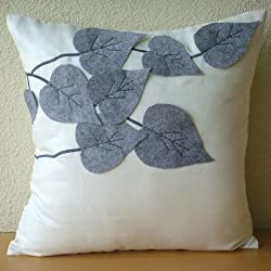 Winter Leaves - Throw Pillow Covers - Suede Pilllow Cover with Felt Embroidery