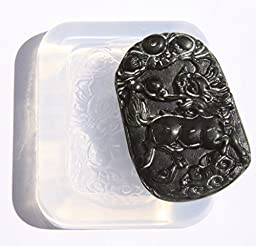 Clear silicone Amulet Pendant Molds,the statue of Kylin. Size 49x29mm. (2-52)