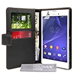 Yousave Accessories Sony Xperia T3 Case Black PU Leather Wallet Cover