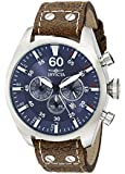 Invicta Men's 19668 Aviator Silver-Tone Stainless Steel Watch With Brown Leather Band