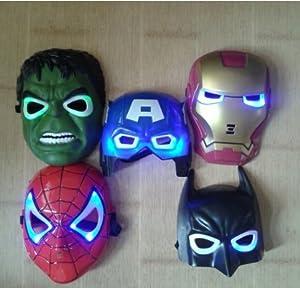 5pcs/lot the Hulk Captain America Batman Spiderman Ironman LED Glowing Party Mask Birthday Halloween Boy Gift by china