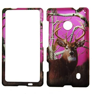 IMAGITOUCH® For Nokia Lumia 521 (T-Mobile MetroPCS) Rubberized Design Hard Case Shell Cover Phone Protector Faceplate - Hunter Hot Pink Buck Deer Real Pine Tree Camo Camouflage Winter Leaves from edealsaving