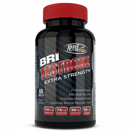 Top Rated Testosterone Booster - More Energy, Muscle Growth & Fat Loss - Testrone by BRI Nutrition - An All Natural Pure Dietary Vitamin Supplement With Raw Bulgarian Tribulus Terrestris Saponins Standard Formula Extract Complex - Improve & Replenish Your Life, Weight, Vitality & Overall Health Wellness - GMP & FDA Approved USA Facility - 30 Day Supply - 60 Capsules - By BRI Nutrition