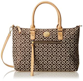 Tommy Hilfiger Tommy Club Convertible Shopper Jacquard Top Handle Bag,Dark Choc/Ecru,One Size