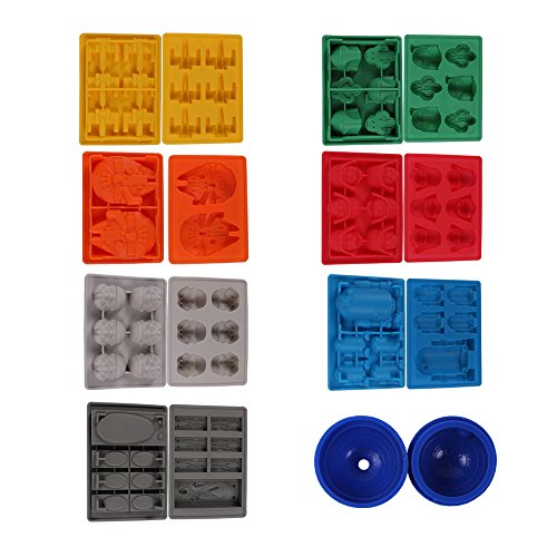 Teenitor Innovative Ice Cube Tray For Star Wars Theme Silicone Molds Star Wars Lovers or Party Theme - Deluxe 8 Piece Set