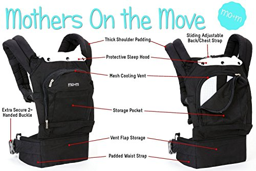 Mo+m® Classic Cotton 3 Position Baby Carrier (Black) ● Soft Structured, Ergonomic Sling w/ Mesh Cooling Vent, Hood & Pockets ● Great Gift for New Moms