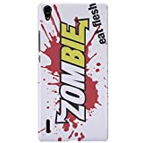 Huawei Ascend P7 Case - White Hard Plastic (PC) Cover with Zombies Eat Flesh Design