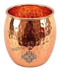 IndianArtVilla 4.0 X 3.0 Pure Copper Round Hammered Glass Tumbler Cup | 590 ML Capacity | Home Hotel Restaurant | Good Health Benefit Yoga Ayurveda