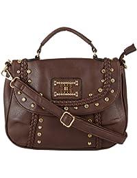 Lavu & Me Women's Girls Handbag Sling Bag & Casual Evening Fancy Brown Ladies Cross-Body Bag (Brown)