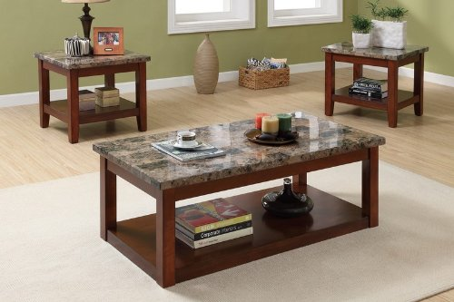 Marble Coffee Tables 3pc Coffee Table And End Tables Set With Marble Top By Poundex