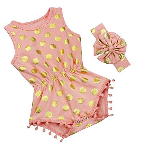FEESHOW Baby Girl One Piece Romper Headband Polka Dot Bodysuit Summer Outfit Set Peach 6-9 Months
