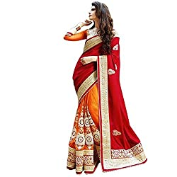 OMKAR CLUB Orange And Red Embroidered Silk Saree With Blouse