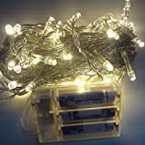 Hikong Xmas 10m 80 Led Christmas Festival Party Wedding Portable Battery Operated Fairy String Light for Holiday Decoration Lighting (Warm White)