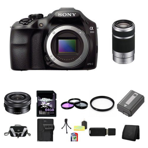 Sony-A3000-ILCE-3000-ILCE-3000LB-20-1MP-Interchangeable-Lens-Camera-Black-Body-with-Sony-16-50mm-f35-56-OSS-Alpha-E-mount-Retractable-Zoom-Lens-SELP1650-and-Sony-E-55-210mm-F45-63-Lens-for-Sony-NEX-Ca