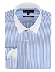 Autograph Pure Cotton Tab Collar Striped Shirt