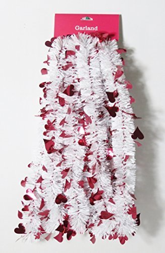 White and Red Valentine Day Tinsel Garland - 15 Foot Long