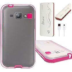 DMG LED Flashing Call Notification TPU Back Cover Case for Samsung Galaxy J1 (Pink) + 10000 mAh Power Bank