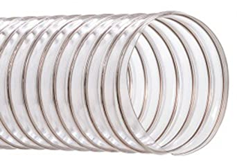"Hi-Tech Duravent CVD Series PVC Duct Hose, Wire Reinforced, Clear, 5"" ID, 25' Length"