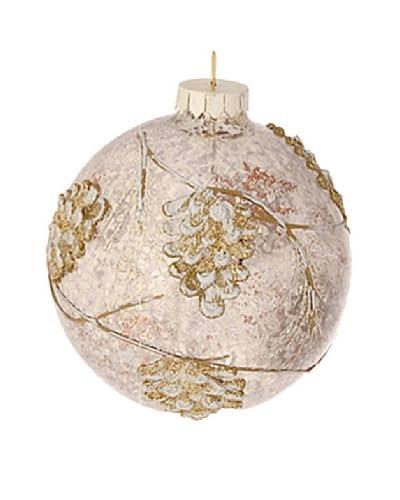 """Raz 4"""" Pinecone Ball Ornament, Antique Brown/Silver"""