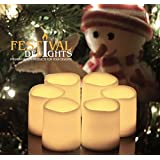 "Battery Operated Candles By Festival Delights® - 6 Unscented Small Flameless Candles, Dia. 1.5""x1.75"" Height, 70+ Hours of Lighting, 6 Extra Batteries Included, LED Candles, Flameless Candle Set, Votive Candles, Centerpieces, Wedding Decor"