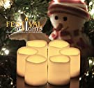 Battery Operated Candles By Festival Delights® - 6 Unscented Small Flameless Candles, Dia. 1.5 x1.75  Height, 70+ Hours of Lighting, 6 Extra Batteries Included, LED Candles, Flameless Candle Set, Votive Candles, Centerpieces, Wedding Decor