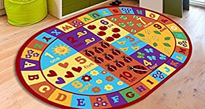 Furnish my Place Kids ABC area rug Educational Alphabet Letter & Numbers Multicolor Actual size anti skid