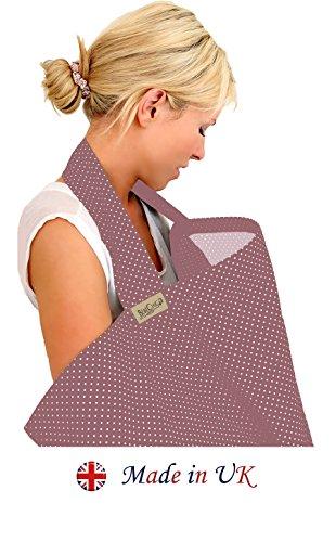 BebeChic-Top-Qualitt-aus-100-Baumwolle-Stillen-Abdeckung-mit-Entbeinen-Aufbewahrungstasche-pflaume-elfenbein-punkt