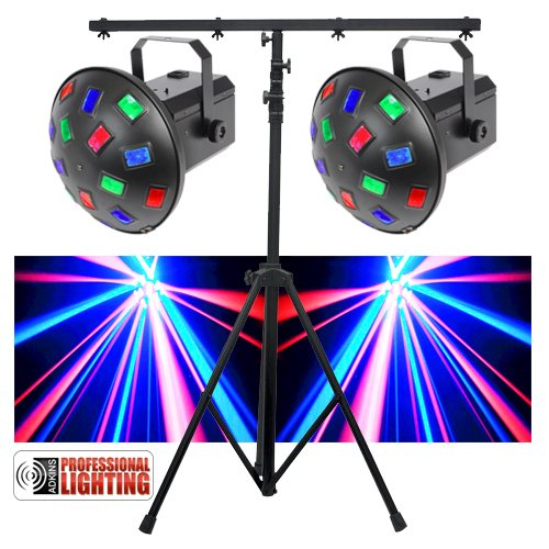 LED DJ Lighting Pack - Dual LED Mushroom Lights & Stand - Great for the Mobile DJ that does Weddings & Parties