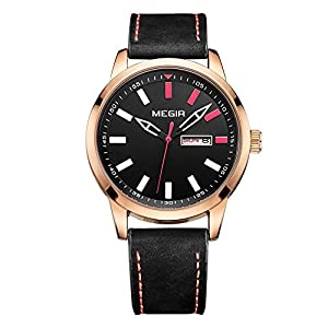 Baogela Men Rose Gold Face Classic 3 Hands Display Casual Calender Leather Strap Quartz Watch
