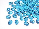 【jewel】ターコイズ (マーブル柄)オーバル型 約5mm×7mm 100粒 ブルー 青 天然石風