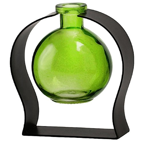 Decorative Tabletop Floral Glass Ball Rooting or Bud Vase w/Gift Box ~ Green G115 Colored Floral Glass Vase with Contemporary Black Metal Stand