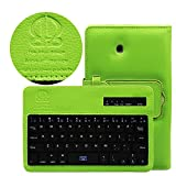 Boriyuan Portable Removable Detachable ABS Wireless Bluetooth Keyboard Carrying Case Flip Folding PU Leather Protective Book Cover with Stand Holder Function for Samsung Galaxy Tab 3 7.0 Inch P3200 P3210 T211 T210 with Free Screen Protector and Stylus Touch Pen Green