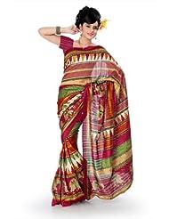 Designersareez Women Bhagalpuri Silk Printed Multicolor Saree With Unstitched Blouse(829)