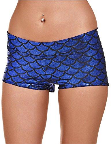 Women's Sexy Shiny Stretchy Metallic Liquid Wet Look High waist Short Pants (XL, NI1077 Dark Blue) (Plus Wet Look Pants compare prices)
