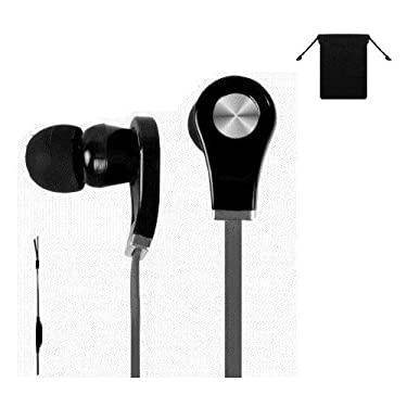 Premium 3.5mm Stereo Handsfree Headset Earbuds Earphones Headphones for Amazon Kindle Fire HD 8.9 ( Black ) w/ Anti-Tangle Flat Wire + Carry Bag