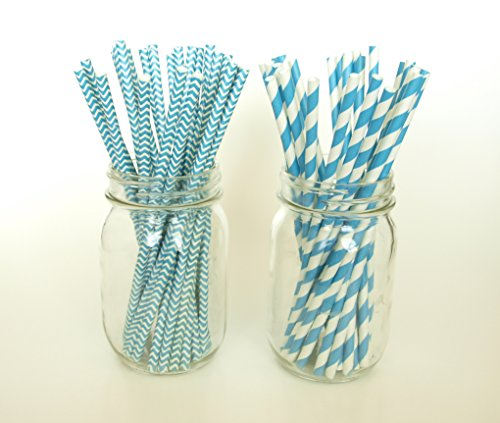 Blue Polka Dot Straws, Paper Drinking Straws, Drink Stirrer, Cute Straws, 50 Pack - Aqua Turquoise, Striped & Chevron back-820811
