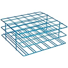 "Bel-Art Scienceware 187940002 Blue Epoxy-Coated Steel Poxygrid 50mL Centrifuge Tube Rack, 9"" Length x 9"" Width x 3-1/2"" Height, 36 Places"