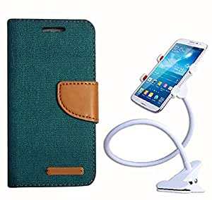 Aart Fancy Wallet Dairy Jeans Flip Case Cover for Apple6G (Green) + 360 Rotating Bed Moblie Phone Holder Universal Car Holder Stand Lazy Bed Desktop by Aart store.