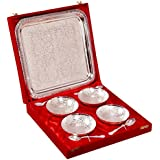 Indian Craft Villa Handmade Silver Plated Brass Bowl With Tray Set Of 9 Pieces . Can Be Use As Kitchenware And...