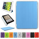 Besdata Ultra Thin Magnetic Smart Case Cover & Back Case For Apple iPad 2 / iPad 3 / iPad 4 - Sky Blue - PT2602