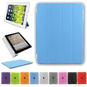 Besdata® Ultra Dünn Edles Smart Cover Leder Case Schutz Hülle Tasche + Back Case für iPad 4 iPad 3 iPad 2 / iPad Mini - inkl. Displayschutzfolie Reinigungstuch Stift mit Multi Ständer Auto Sleep Wake (ipad 2 3 4, Blau)