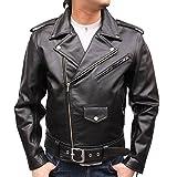 【 ライダースジャケット 】Mo-Lawzレザー ダブル ライダース メンズ ジャケット(USサイズ) MLRJ003 (5L, ブラック)