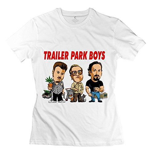 Trailer Park Boys Lady T-Shirt,White Crew Neck Shirts Size M