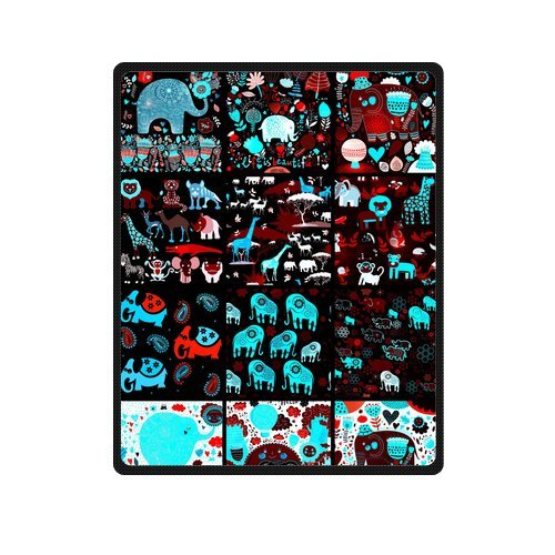 "Dark Seamless Pattern With Elephants Custom Blanket 40""X 50""(Small) front-780583"