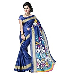 Shree Fashion Hub Printed BLUE Bhagalpuri Silk Saree With Blouse Piece