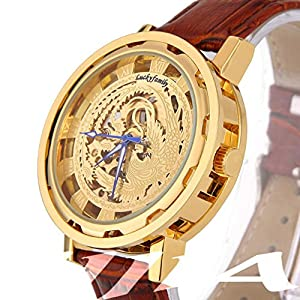 Gift In Box Gold Phoenix Skeleton Dial Brown Genuine Leather Atomatic Mechanical Men's Watch G8119-01