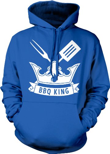 Bbq King Hooded Sweatshirt, Funny Bar-B-Que King Crown Fork And Spatula Design Hoodie (Royal Blue, Large)